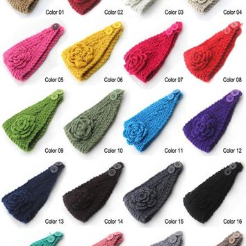 2015 New 10pcs/lot Classical Flower Women's Knitted Headwrap Knitting wool crochet headband ear warmers for Girls Teens Women