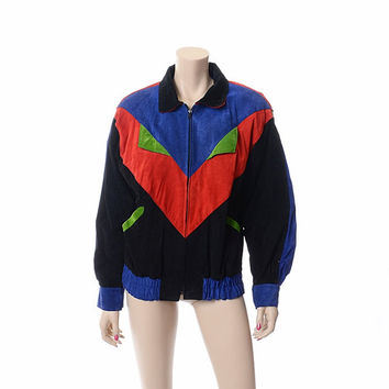 Vintage 80s Patchwork Suede Leather Bomber Jacket 1980s New Wave Boho Abstract Multicolor Avant Garde Oversize Coat / Small
