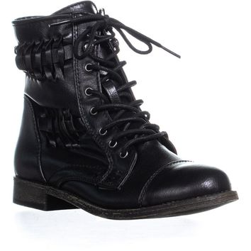 Rampage Justeyna Briaded Lace Up Combat Boots, Black, 7.5 US