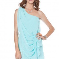 Elodia One Shoulder Dress in Sky Blue - ShopSosie.com