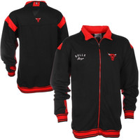 Chicago Bulls Big & Tall Zipway Blueprint Full Zip Track Jacket - Black