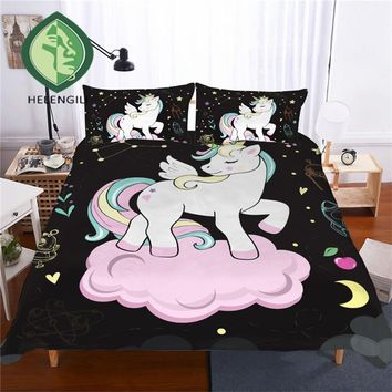 HELENGILI 3D Bedding Set Unicorn Print Duvet cover set lifelike bedclothes with pillowcase bed set home Textiles #DJS-16