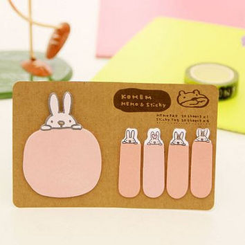 Sticky Notes Memo Pad Labels | Bookmark Stationary Paper | School Office Supplies | Removable Adhesive Rabbit Pink Cute Korean Post-It M19