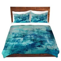 OFF THE GRID 4, Coastal Blue Fine Art Duvet Cover King Queen Twin Ocean Teal Aqua Watercolor Monochrome Bedding Home Decor Colorful Bedroom