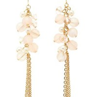 Pearl & Stone Cluster Fringe Earrings by Charlotte Russe - Lt Pink