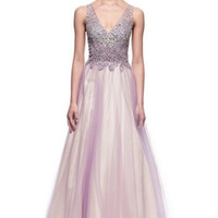 Kari Chang KC41 Lilac Jeweled Top V-Neck Ball Gown Prom Dress