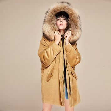Autumn/winter new women's parkas real lamb liner large raccoon fur jacket corduroy coats loose clothing