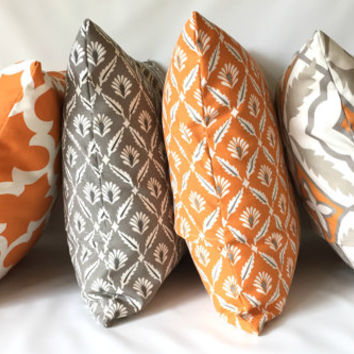 Fall Pillow Cover Set- 18 x 18, Set of 4, Cinnamon Taupe Grey Ivory Cushions, Modern Damask Pillow, Fall Decor, Thanksgiving Pillows