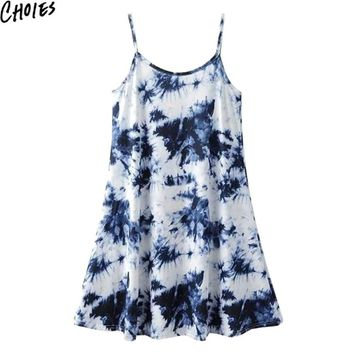Women Blue Vintage Tie Dye Swing Casual Ethnic Style Beach Cami Shift Dress Summer New Draped Cotton Sleeveless Clothing