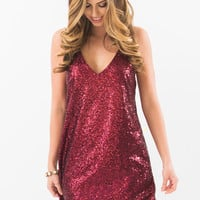 Lola Wine Sequin Strappy Mini Dress