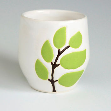 $28.00 small ceramic cup  leaves in chartreuse green  by hopejohnson