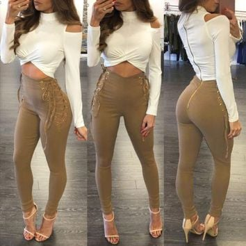 Spring Women  Casual Stretch Pencil Pants High Waist Long Trousers