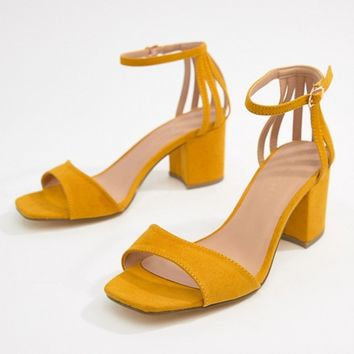 New Look Wide Fit Square Toe Block Heel Sandal at asos.com