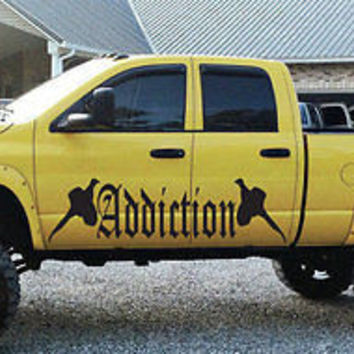 Duck Hunting Addiction Decal Sticker Shooting Gun will fit any car tr405