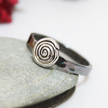 Spiral Of Life/ Sterling Silver Whirlwind Ring/ Silver Stacking Ring/ Simple Ring/ Silver Ring