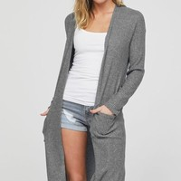 Thermal Knit Cardigan - Heather Gray