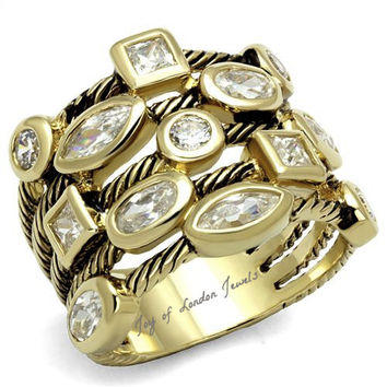 Metro Stacked Gold & Platinum 4TCW Russian Lab Diamond Anniversary Ring