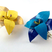 Duct Tape Lily Barrette- Multiple Colors