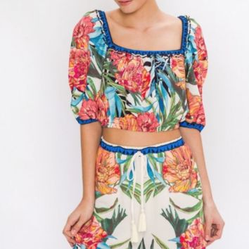 'LOST IN PARADISE' FLORAL CROP TOP