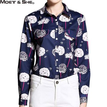 Design High Quality Silk Women Blouse Shirt Polo Collar Pink Line Floral Blue Tops Fal