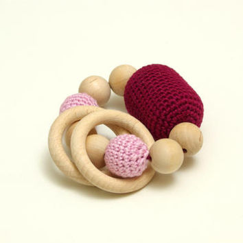 Woodeen teether,  teething ring,  crochet wooden beads, baby gift toy, senses training, baby shower gift, baby rattle, nursery gift, newborn