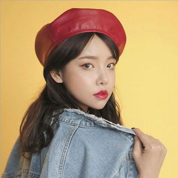 Women Faux Leather Berets Autumn Winter Solid Color PU Leather Felt Cap Female Boina Hats Beret Gorras