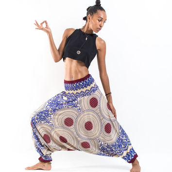Geometric Mandalas Jumpsuit Harem Pants in Royal Blue