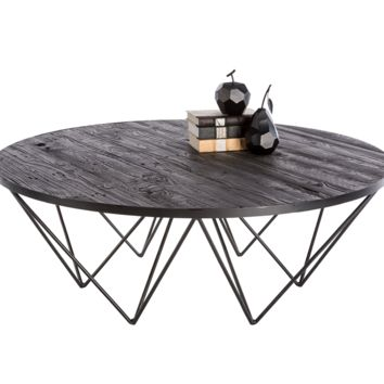MUFFIN IRON BASE WITH BLACK PLANKS OF RECYCLED PINE TOP ROUND COFFEE TABLE