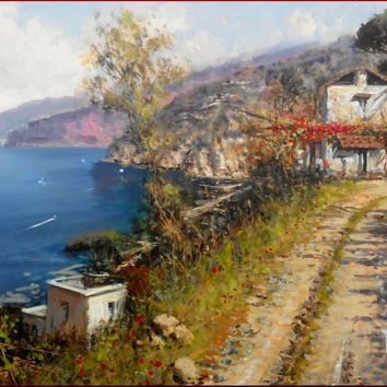 Big Italian painting 70x100 cm Amalfitan Coast panorama landscape oil on canvas of Pasquale Esposito Italy