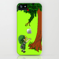 iphone and ipod case - Link Legend of Zelda with an apple tree iPhone 4 4s 5 5c case cover