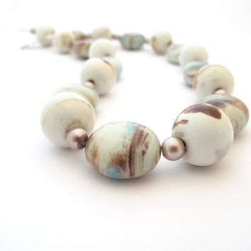 White, Blue, & Brown Porcelain Beaded Necklace