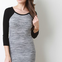Marled Rib Knit Raglan Sleeve Dress