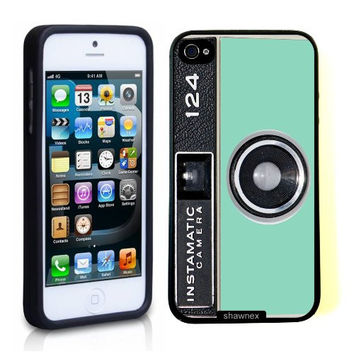 iPhone 5 5S Case ThinShell TPU Case Protective iPhone 5 5S Case Shawnex Mint Instamatic Camera Vintage