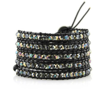 Stained Glass Crystals on Black Leather Wrap Bracelet