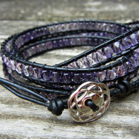 Beaded Leather 4 Wrap Bracelet with Lilac Purple Czech Glass Beads on Black Leather