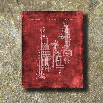 Trumpet Patent 1981 Art Illustration Printable Instant Download Print Poster UP002red