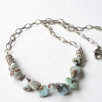 Aqua Blue Larimar  Necklace, Dominican Larimar Chip Nugget Beaded Silver Chainmaille Necklace, Blue Brown Beaded Necklace
