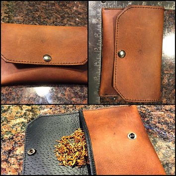 Tobacco pouch Rustic brown leather lined