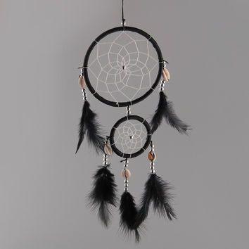 India Handmade Black Dream Catcher Net With feathers Wall Hanging Decoration Decor Ornament free shipping