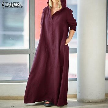 Maxi Dress Women Long Sleeve Hooded Cotton Linen Dress ZANZEA 2019 Autumn Kaftan Female Vintage Casual Tunic Vestido Oversized