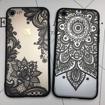 Kerzzil 3D Relief Lace Mandala Rose Henna Skirt Case Cover For iPhone 7 6 6S Plus Sunflower case For iPhone 6 7 6S Fundas Capa
