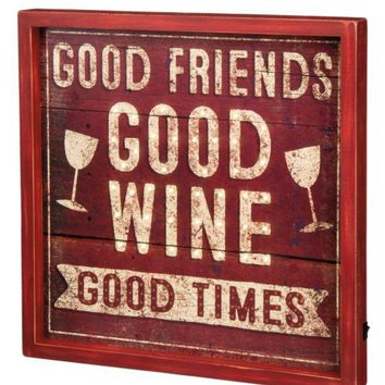 Good Friends, Good Times LED Box Sign by Primitives by Kathy