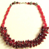 Red Crystal Beaded Necklace Crystal and Pearls by BeadingWonders