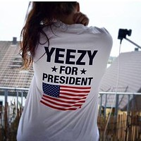 Yeezy Stylish Women Men Casual Print Short Sleeve T-Shirt Lovers Top White I