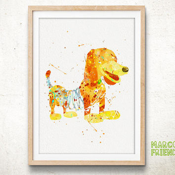 Disney Toy Story, Slinky Dog - Watercolor, Art Print, Home Wall decor, Watercolor Print, Disney Poster