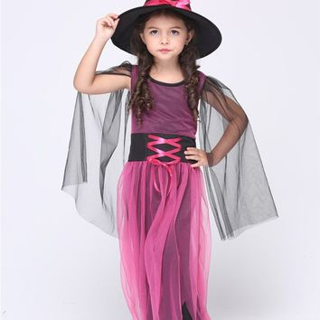 Girl Black Fly Witch Costume Dress and Hat