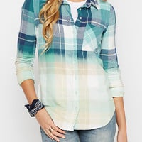 Teal Dip Dye Plaid Flannel Shirt
