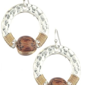 Brown Hammered Metal Ring Wooden Bead Charm Earring