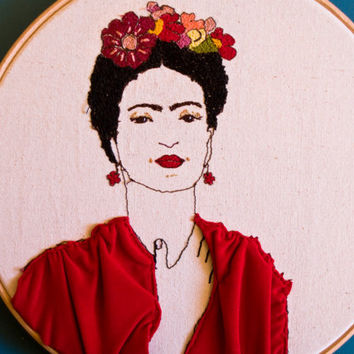 "Frida Kahlo Embroidery Portrait - Frida Kahlo Hoop Art Wall Hanging- Contemporary Embroidery -Thread drawing on canvas - Fiber arts - 9""hoop"