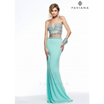 Faviana S7524 Jersey Two Piece Corset Gown